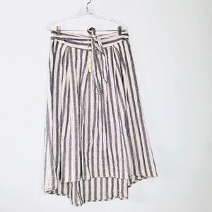 NEW MAX STUDIO Blue/Cream Stripe Hi Low Skirt